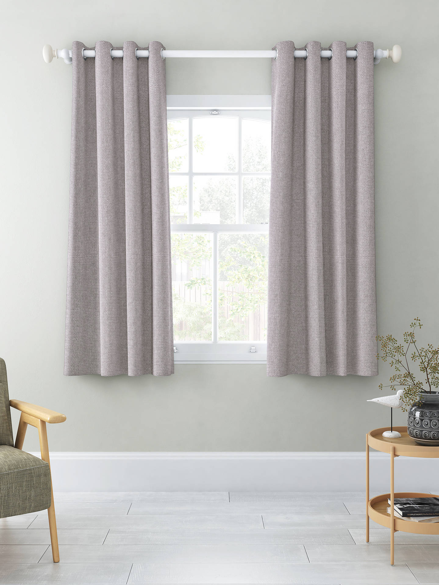 Buy John Lewis & Partners Basket Weave Pair Blackout Lined Eyelet Curtains, Blue Grey, W167 x Drop 137cm Online at johnlewis.com