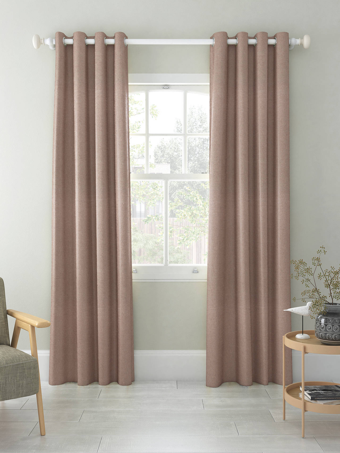 Buy John Lewis & Partners Basket Weave Pair Blackout Lined Eyelet Curtains, Mocha, W228 x Drop 228cm Online at johnlewis.com