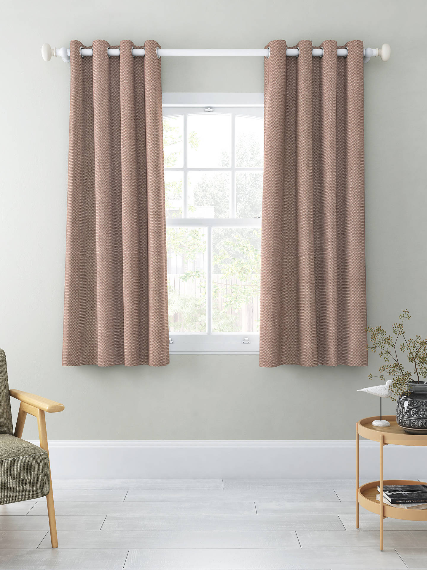 Buy John Lewis & Partners Basket Weave Pair Blackout Lined Eyelet Curtains, Mocha, W167 x Drop 137cm Online at johnlewis.com