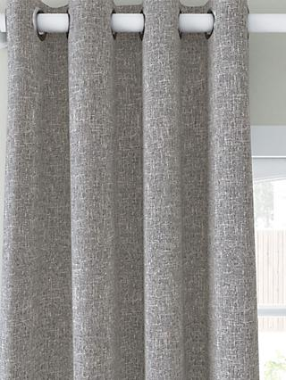 John Lewis & Partners Boucle Pair Blackout Lined Eyelet Curtains