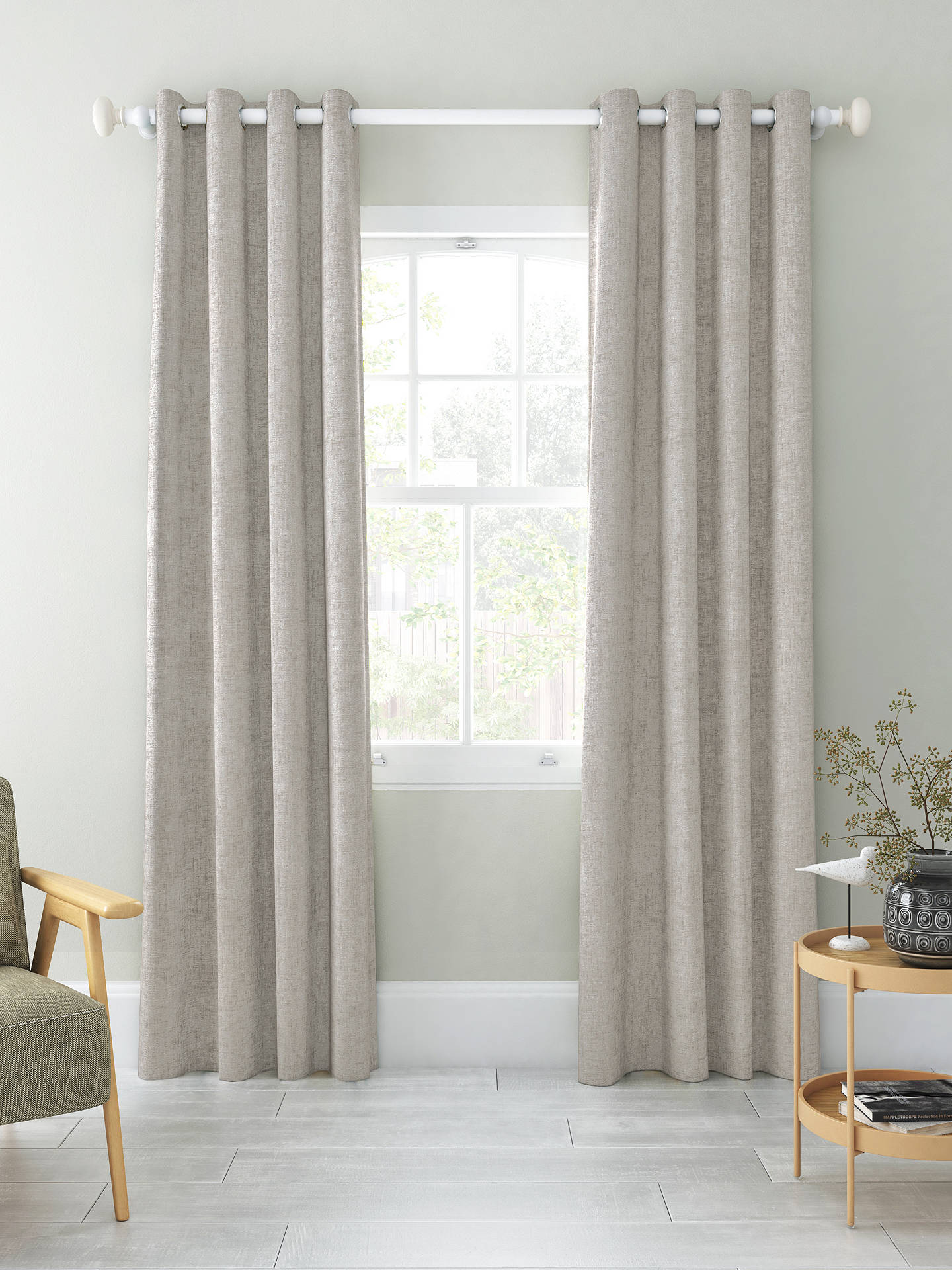 Buy John Lewis & Partners Chenille Pair Blackout Lined Eyelet Curtains, Flint, W228 x Drop 137cm Online at johnlewis.com
