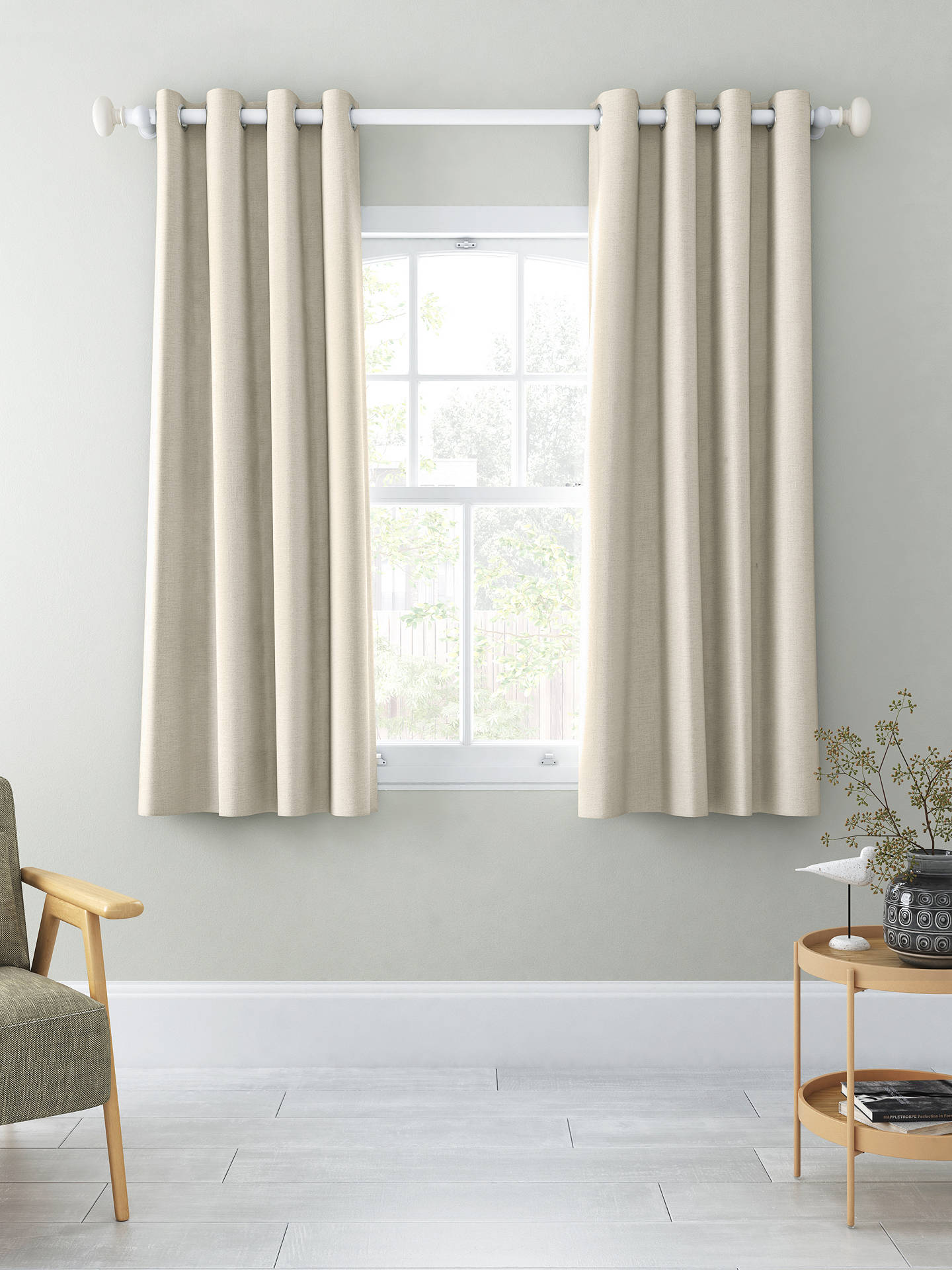 Buy John Lewis & Partners Chenille Pair Blackout Lined Eyelet Curtains, Oyster, W167 x Drop 137cm Online at johnlewis.com