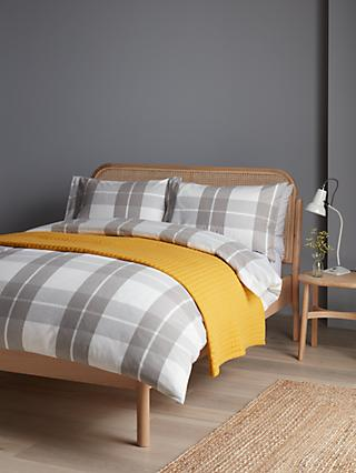 John Lewis & Partners Brushed Check Duvet Cover Set, Grey