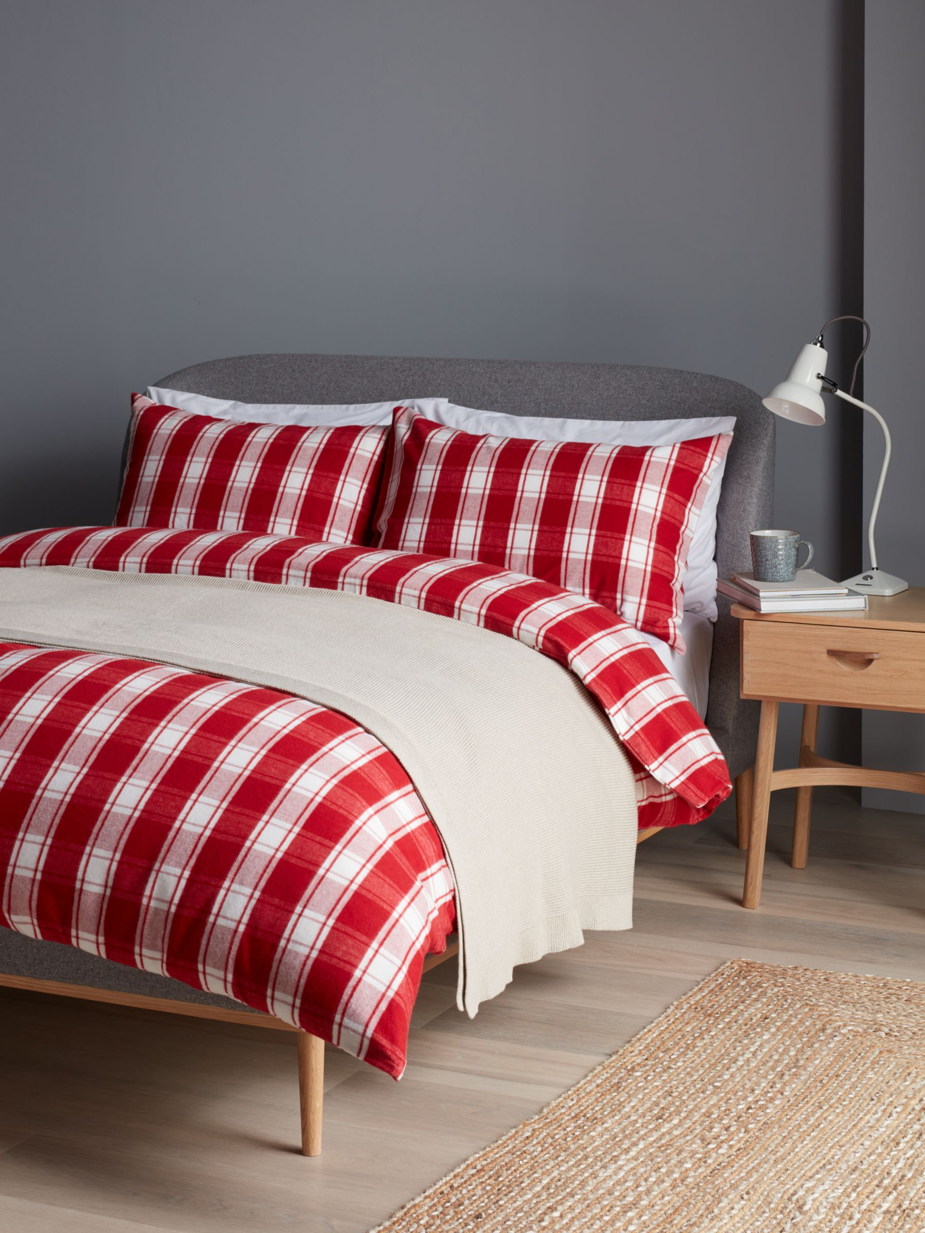 John Lewis Partners Brushed Check Duvet Cover Set Red At John Lewis Partners