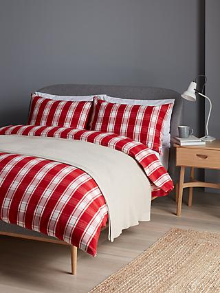 John Lewis & Partners Brushed Check Duvet Cover Set, Red