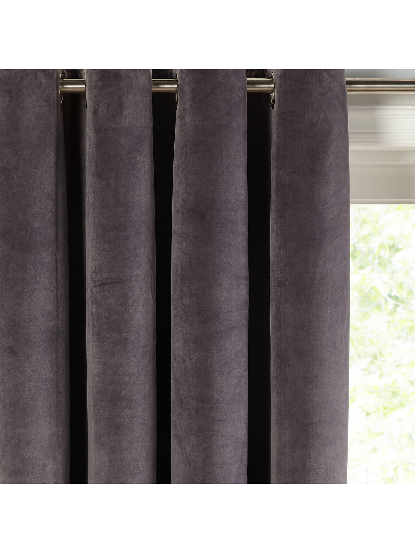 Buy John Lewis & Partners Velvet Pair Lined Eyelet Curtains, Steel, W167 x Drop 137cm Online at johnlewis.com