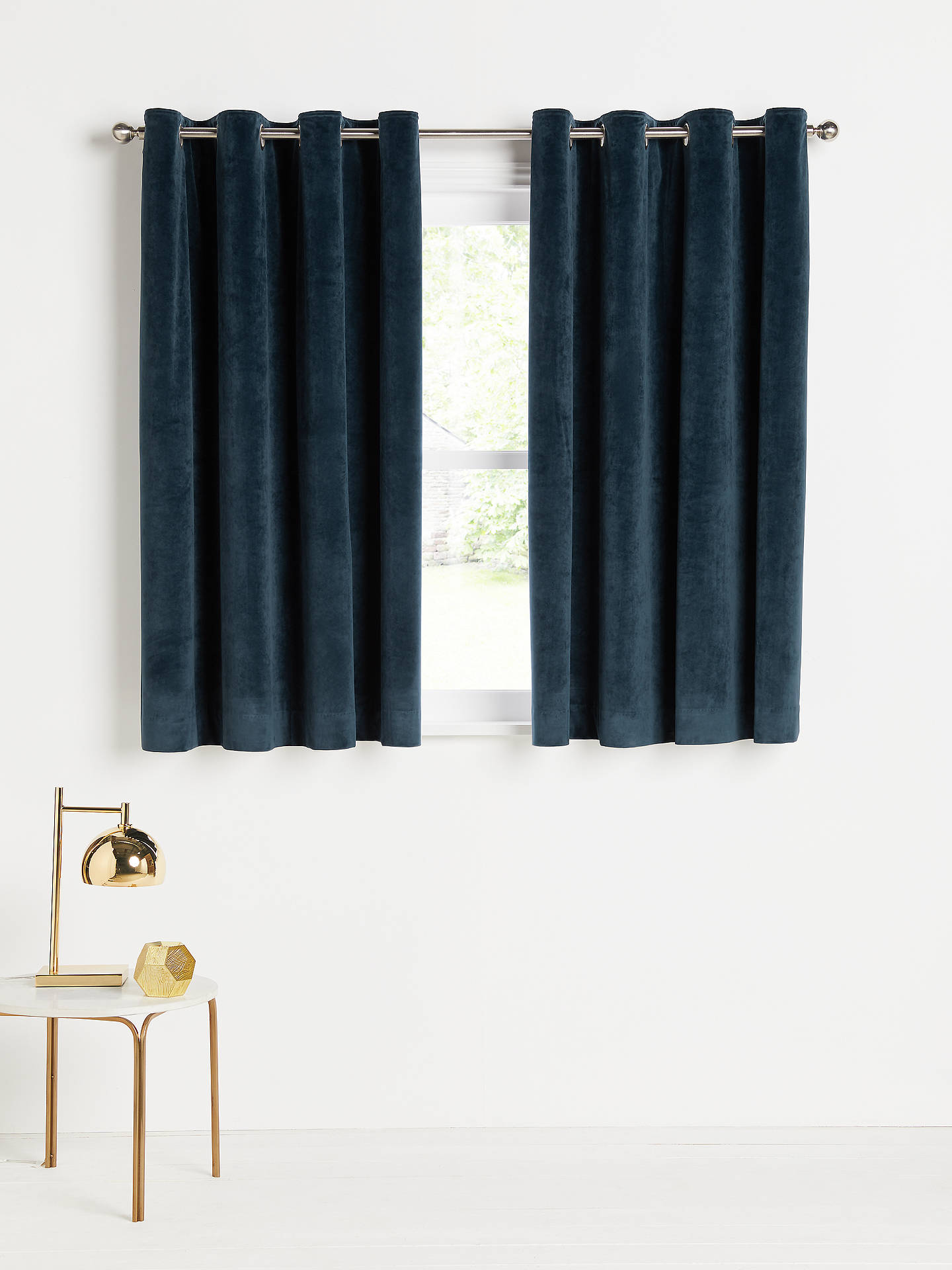 Buy John Lewis & Partners Velvet Pair Lined Eyelet Curtains, Navy, W167 x Drop 137cm Online at johnlewis.com