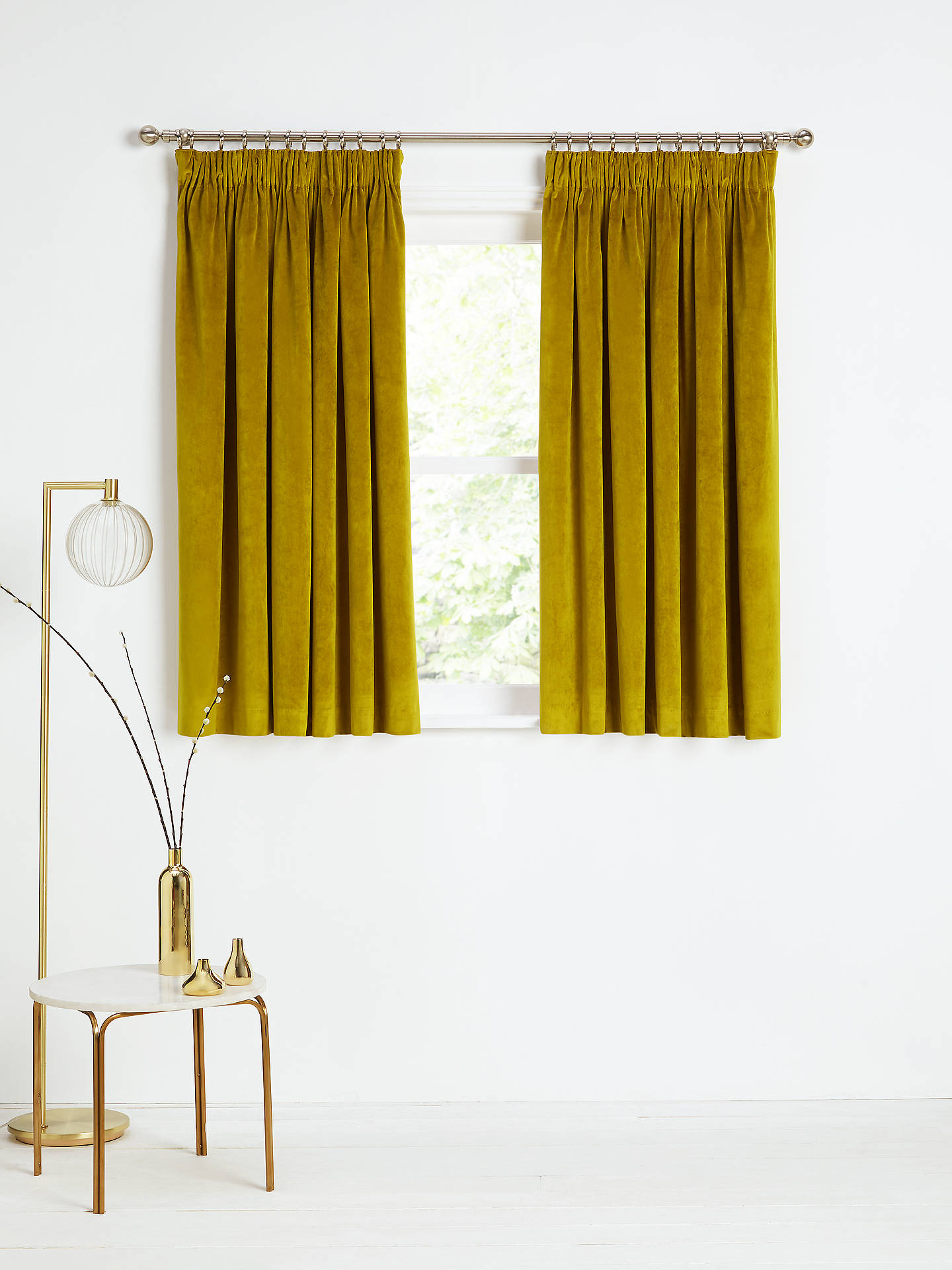 Buy John Lewis & Partners Velvet Pair Lined Pencil Pleat Curtains, Gold, W167 x Drop 137cm Online at johnlewis.com