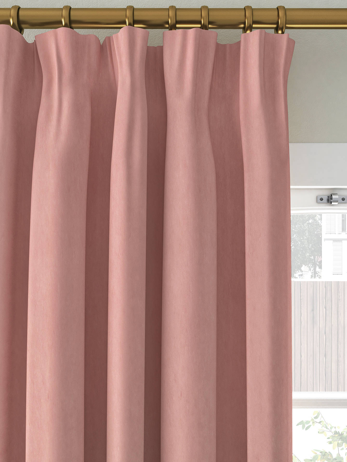 Buy John Lewis & Partners Velvet Pair Lined Pencil Pleat Curtains, Pink, W167 x Drop 137cm Online at johnlewis.com