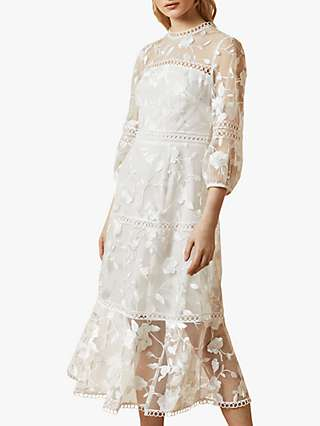 Ted Baker Tabii Tiered Lace Midi Dress, Natural Ivory