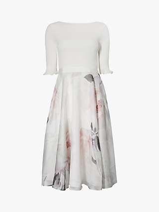Ted Baker Iline Floral Print Flared Dress, Ivory