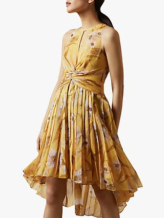 Ted Baker Fabulas Cabana Pleated Midi Dress, Yellow