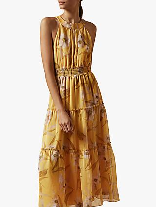 Ted Baker Saffine Floral Print Maxi Dress, Yellow