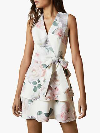 Ted Baker Blaer Floral Tiered Mini Dress, Ivory/Multi