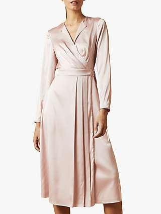 Ted Baker Neenha Pleat Detail Satin Midi Dress