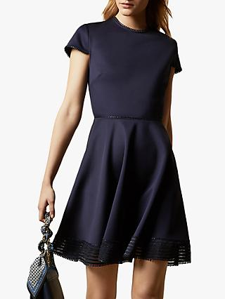 Ted Baker Rohdia Mesh Detail Mini Skater Dress, Navy