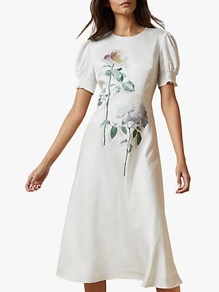 Ted Baker Fleu Floral Midi Dress, Ivory/Multi