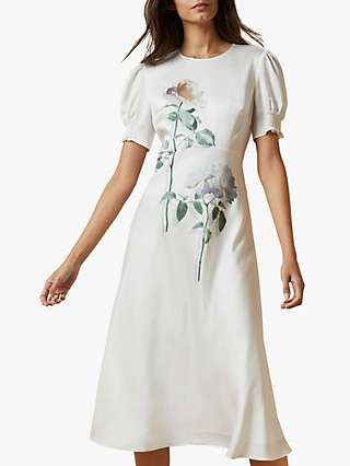 Ted Baker Fleu Floral Midi Dress, Ivory/Multi