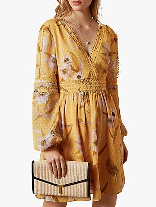 Ted Baker Posyy Floral Print Wrap Dress, Yellow