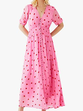 Ghost Valentina Heart Print Dress, Pink