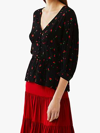 Ghost Courtney Cherry Print Top, Black/Red
