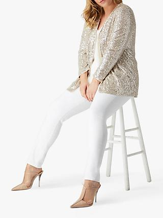 Live Unlimited Curve Sequin Embellished Long Sleeve Jacket, Mink