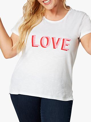 Live Unlimited Curve LOVE Slogan Tee, White Natural
