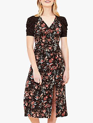 Oasis Patch Print Side Slit Midi Dress, Black/Multi