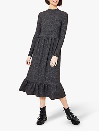 Oasis Cosy Funnel Neck Dress, Dark Grey
