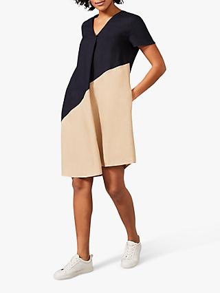 Phase Eight Doty Colour Block Linen Dress, Navy/Stone