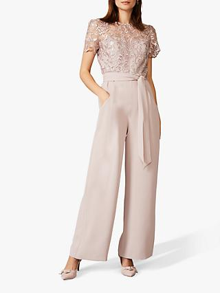 Phase Eight Kira Lace Jumpsuit, Taupe