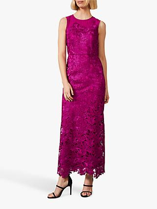 Phase Eight Bessie Lace Maxi Dress, Fuchsia
