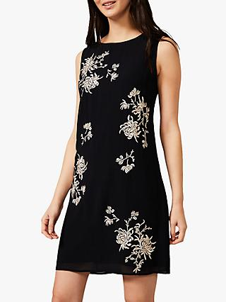 Phase Eight Hina Floral Embroidery Mini Dress, Navy/Multi