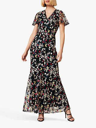 Phase Eight Daiva Fishtail Floral Print Maxi Dress, Black/Multi