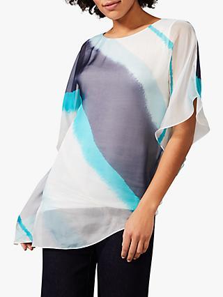 Phase Eight Asymmetric Stripe Silk Blouse, Blues