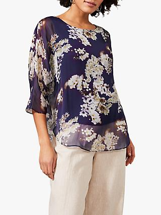 Phase Eight Shila Floral Print Silk Blouse, Navy