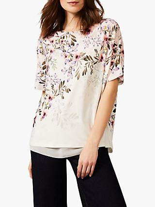 Phase Eight Lillianna Floral Top, Pink/Ivory