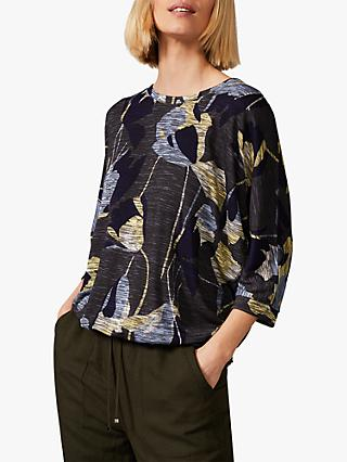 Phase Eight Paris Floral Print Jersey Top, Navy/Multi