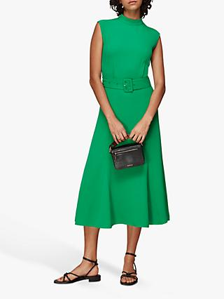 Whistles Penny Sleeveless Belted Dress, Green