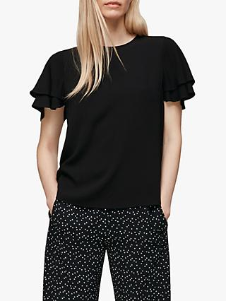 Whistles Frill Sleeve Shell Top, Black