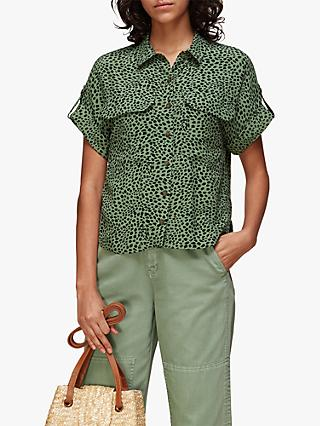 Whistles Spotted Animal Pocket Blouse, Green/Multi