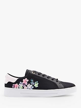 Ted Baker Blaake Floral Print Lace Up Trainers, Black
