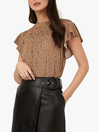 Warehouse Mini Fleck Frill Sleeve Top, Brown