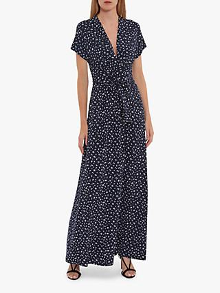 Gina Bacconi Doria Spot Print Maxi Dress, Navy/White