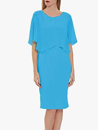 Gina Bacconi Wanita Cape Midi Dress, Summer Turquoise