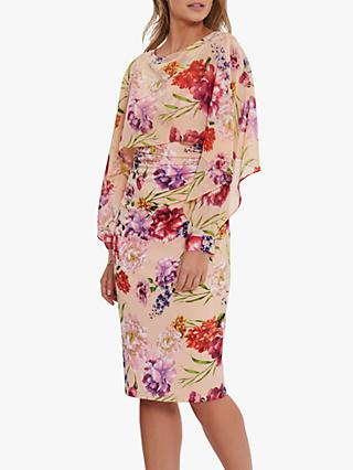 Gina Bacconi Marlana Floral Print Cape Midi Dress, Blush Rose/Green