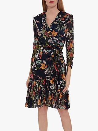 Gina Bacconi Engracia Floral Mini Dress, Navy/Multi