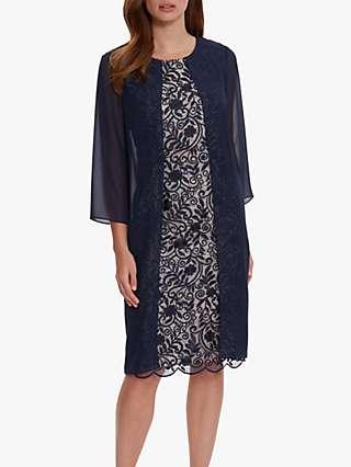 Gina Bacconi Lorca Lace Chiffon Dress, Navy/Antique Rose
