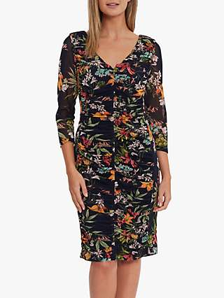 Gina Bacconi Dinesha Floral Print Mesh Dress, Navy/Multi