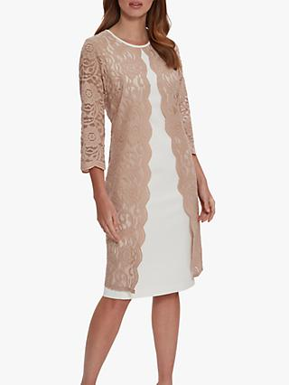 Gina Bacconi Clarabelle Lace Dress, Light Camel